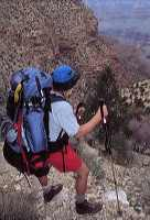 (c) Rob Kleine 1999.  A backpacker pauses to assess his progress up the Red Canyon Trail.  Grand Canyon National Park.